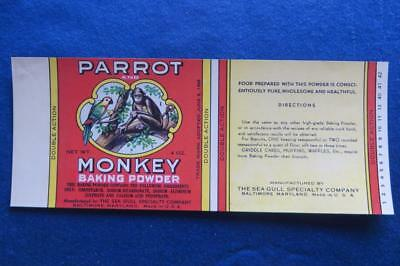 Vintage Can Label Parrot & Monkey Baking Powder  Baltimore Maryland