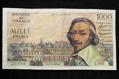 1956 Issue France 1000 Francs Note - VF - Cardinal Richelieu P#134a PG.501