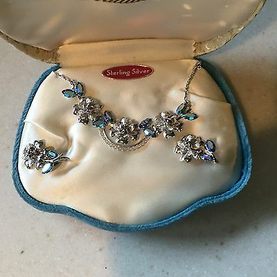 Tradition Sterling Silver Necklace Earring Aquamarine Stones Set In Box