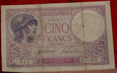 1918 France 5 Francs Note Free S/H