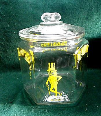 1930's Planters Peanut Glass Jar With Lid