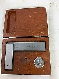 "VINTAGE BROWN & SHARPE #542 4"" BEVEL EDGED SQUARE, Wooden Box, FREE SHIPPING NR!"