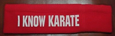 I Know Karate Red Headband Fleece Martial Arts Kickboxing Sweatband New