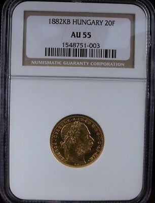 1882Kb Hungary 20F Ngc Au 55 Hungary 20 Francs / 8 Forint Gold Coin