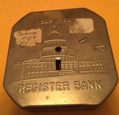 VINTAGE: Tin Litho CAPITOL Automatic Dime Coin Register Bank (1930's) ORIGINAL