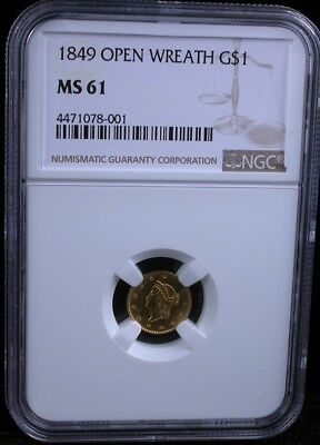 1849 Open Wreath G$1 Ngc Ms 61 Type 1 1849 Liberty Gold Dollar