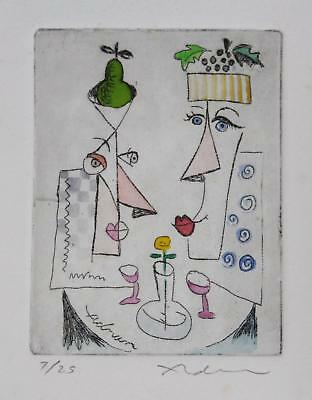 Small Ltd Ed Pencil Signed ADNAN CHARARA Hand Colored Abstract Etching Print NR