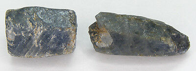 Lot De 2 Pcs. / 37,60Ct. Saphir Bleu Brut Naturel Non Chauffe
