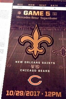 4 tickets New Orleans Saints vs Chicago Bears, 10/29/2017, Section 608, Row 20