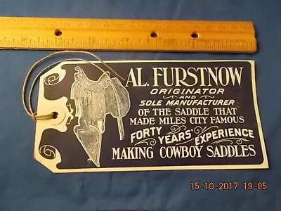 Vintage Al Furstnow Saddlery Co Tag: Miles City, MT: Miles City Saddles: Cowboys