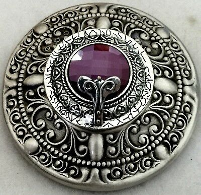 "VINTAGE 2 1/4""INCH~Silvered Stamped Brass~Antique &Vintage Glass Amethyst Button"