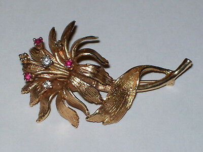 Vintage 14k Yellow Gold Red and White Stone Accent Flower Brooch