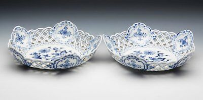 Pair Antique Meissen Blue & White Onion Pattern Pierced Baskets 19Th C