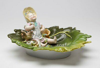 Antique Meissen Girl On Leaf Dish Figure 19Th C