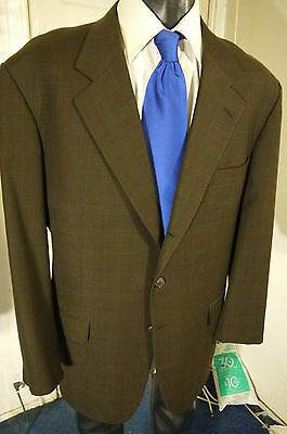 Gianluca Isaia Size 48R Brown Plaid 3 Button Sportcoat W/dual Vents