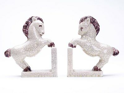 Pair Goldscheider Craquel Glaze Pony Bookends C.1925