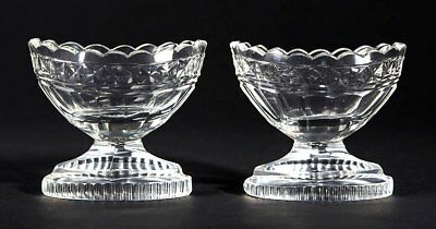 Pair Antique Regency Cut Glass Salts