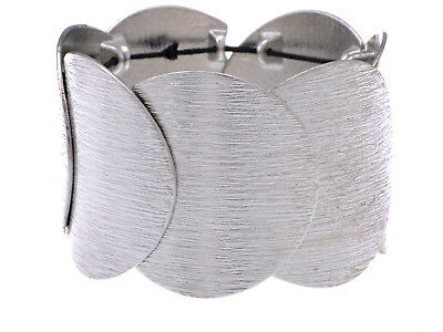 Medieval Armor Style Statement Bracelet With Adjustable Band And Brushed Finish