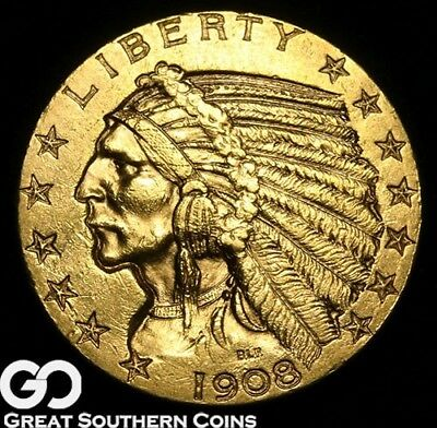1908 Half Eagle, $5 Gold Indian, Nice Brilliant Uncirculated+ ** Free Shipping!