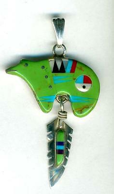 Southwest Green Jasper Inlay Zuni Bear PENDANT Feather Turquoise Sterling Silver