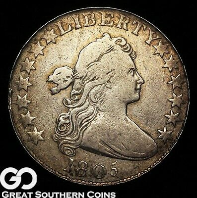 1805 Draped Bust Half Dollar, RARE Early Silver Half, Scarce Type! ** Free S/H