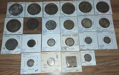 Old LOT of Centavos Mexican Mexico Silver Coins Private Collection caps rays