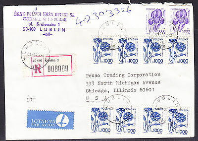 Poland 1993 Registered R8009 Letter - Lublin to Chicago