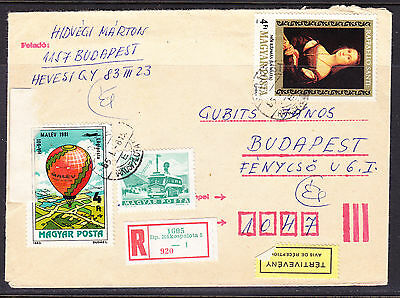 Hungary 1985 Registered R1605  Rakospalota to Budapest Cover