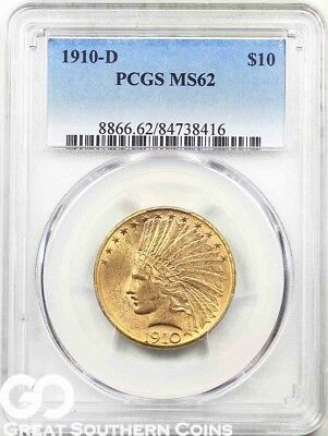 1910-D PCGS Gold Eagle, $10 Gold Indian PCGS MS 62 ** Nice Golden Luster