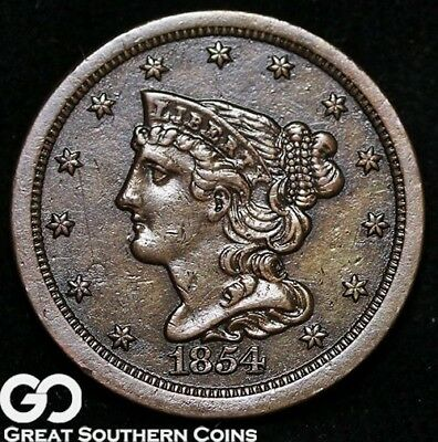 1854 Half Cent, Braided Hair, Choice AU++/Uncirculated, Nice Strike