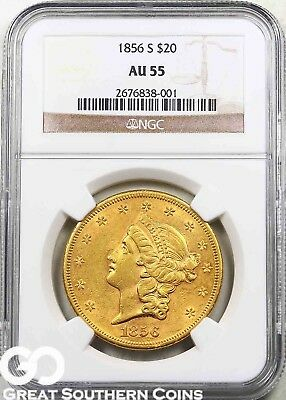 1856-S NGC Double Eagle, $20 Gold Liberty, No Motto, NGC AU 55 ** Lustrous Gold!
