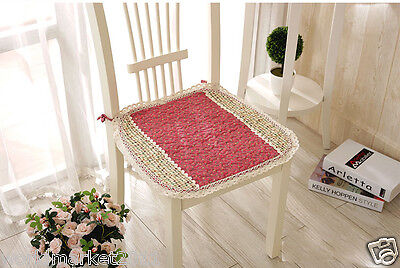 4X New Simplcity Style Fabrics Red 45 * 45 CM Canvas Cotton Chair Mats/pads