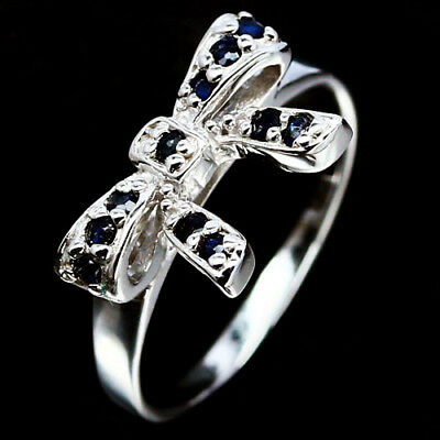 Excellent Real Blue Sapphire 925 Sterling Silver Ring White Gold Plated Sz 5.5
