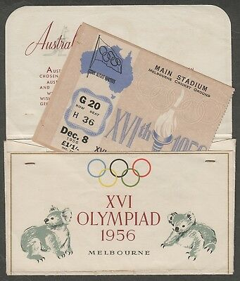 700) 1956 Melbourne Olympic Games Original Ticket Envelope & Main Stadium Ticket