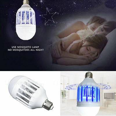 New LED Electronic Anti-Mosquito Bulb 15W 1000LM 6500K Insect Fly Lure Kill Bulb