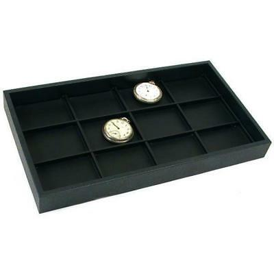 12 Pocket Watch Black Faux Leather Display Tray Case