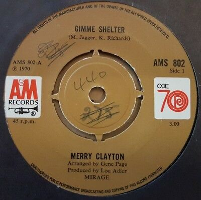 "Merry Clayton 1970 Rolling Stones cover ""Gimme Shelter"" AMS 802 *VG*"