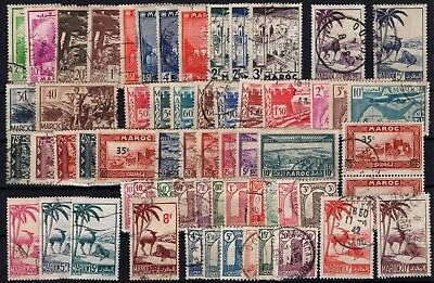 P43372/ Maroc Français / French Morocco / Lot 1933 - 1944 Obl / Used 128 €