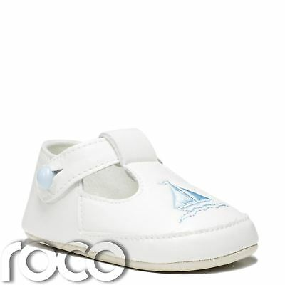 Cream Christening Shoes, Baby Boys Shoes, Soft Sole Shoes, Boat Print