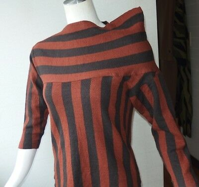 UNIQUE ASYMMETRY DESIGN! ISSEY MIYAKE LADY'S VINTAGE 80's STRIPED KNIT SWEATER S