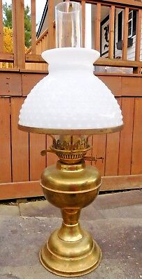 Brass Duplex Double Wick Burning Oil Lamp With Snuffer No Dents Works Well