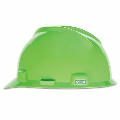 MSA Safety 815565 V-Gard Slotted Hard Hat Lime Green w/ Fas-Trac III Suspension