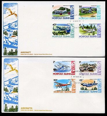 Norfolk Island 1980/81 Aircraft set of 16 to $5 - 4 x Unaddressed FDCs