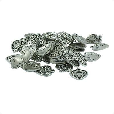 50pcs Alloy Hollow Heart Glue On Bails Pendant Necklace Jewelry Making Craft