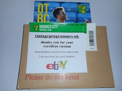 NORWICH  CITY  v  DERBY COUNTY  2017/18 ~ OCT 28th  MINT    *****FREE POST*****