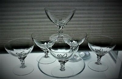 Attractive set of 6 crystal sundae glasses.