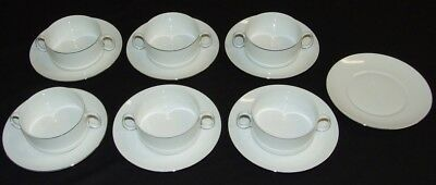 6 x Thomas Germany Two Handled Soup Bowls & Saucers