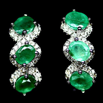 Charming! Natural! Green Emerald & White Cz Sterling 925 Silver Earrings