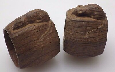 Pair of Vintage Wooden Robert Thompson Mouseman Napkin Rings
