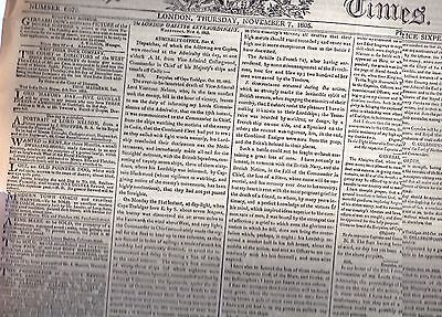 The Times Newspaper 7 Nov 1805 Death Of Nelson Maybe Facsimile Delicate